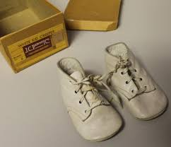 white leather baby shoes in the box pair of j c penney company