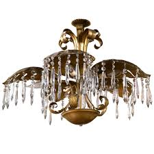 brass five light large palm leaf with crystals chandelierhollywood regency style brass palm chandelier