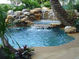 Pools With Waterfalls Waterfalls Into Pool Jacuzzi Yard Ideas