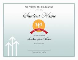 Star Of The Month Certificate Template Student Of The Month Award Barca Fontanacountryinn Com
