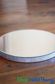 round centerpiece mirror riser dessert stand w rhinestone border 10