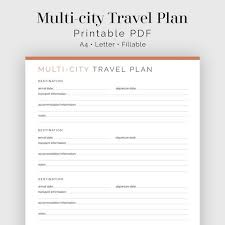 Multi City Travel Plan Fillable Travel Planner Vacation Etsy