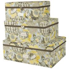 Decorative Storage Box Sets Waverly Set Of Three Canvas Storage Bins With Zipper Lids 18