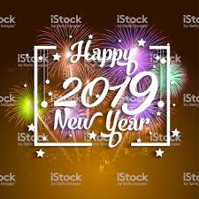 2019 Happy New Year Greeting Card With Colorful Fireworks Vector ...