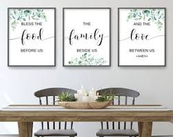 Beautifully constructed dining table that comes fitted with large drawers for utensils, cutlery, and any other stuff you may want. Dining Room Wall Art Etsy