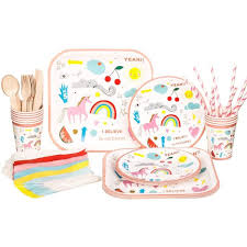 10 sets <b>Disposable</b> Tableware <b>Unicorn Party Supplies</b> | Kiddo Stuff ...