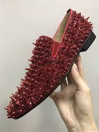 Glitter Bottom Shoes Designer 2018 Famous New Men Designer Glitter Spikes Loafers Brand