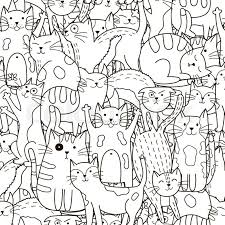 black and white cute cats background great for coloring book wrapping printing fabric and textile vector ilration vector