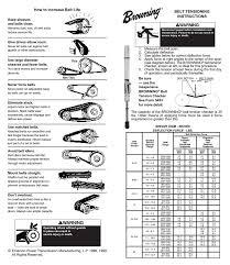 Browning Pulley Size Chart Browning Belt Tensioning Instructions Form 8082