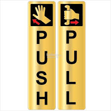 Push Pull Gold Brushed Sticker 2s 48x194mm