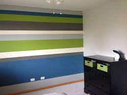 Striped accent wall, Boys bedroom paint