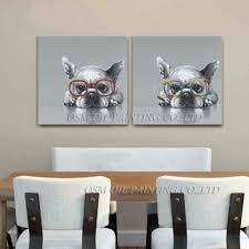 top artist hand painted high quality kinds of animal oil painting on canvas french bulldog oil painting picture for wall artwork in painting calligraphy