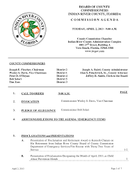 BOARD OF COUNTY COMMISSIONERS INDIAN RIVER COUNTY, FLORIDA C O M M I S S I  O N A G E N D A