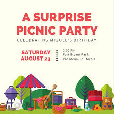 Picnic Template Colorful Picnic Surprise Party Invitation Templates By Canva
