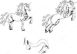 Sada Tetování Jednorožec Koně Stock Vektor Hayashix23 56768071