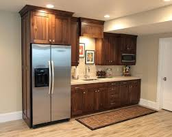 Basement Traditional Basement Kitchens Also Brown Wooden Kitchen Cabinet  Stainless Double Door Refrigerator Pinterest