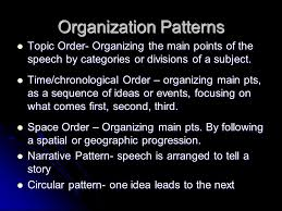 Speech Organizational Patterns Mesmerizing PARTS 488 48 SPEECH ORGANIZATION Selecting A Topic Subject A Broad