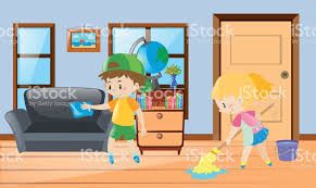 cleaning living room clipart. boy and girl cleaning the house royalty-free stock vector art living room clipart