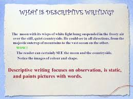 descriptive writing character observation good writing comes from  what is descriptive writing