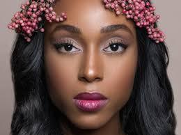 natural skin plum lipstick purple black bride makeup