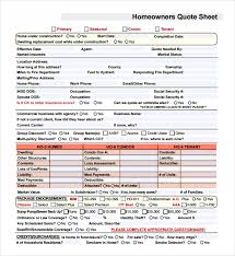 homeowners quote sheet template