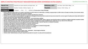 Construction Project Manager Resume Resumes Templates