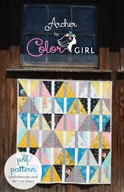 easy fat quarter quilt pattern Archives - Color Girl Quilts by ... & Archer modern triangle quilt patchwork pattern for fat quarters Adamdwight.com