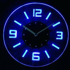 light up wall clock oak clocks neon wood pendulum