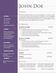 Microsoft Word Professional Resume Template Easy Resume Template