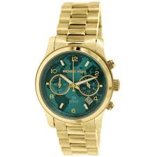 buy michael kors women's hunger stop turquoise world map dial gold