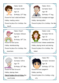Personal Info Cards Personal Information Esl Worksheets Of The Day English English
