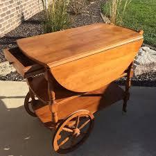 antique bar cart. ANTIQUE: Solid Wood Dropleaf Tea/Bar Cart - Vintage, TWO Shelves, Drawer Antique Bar V