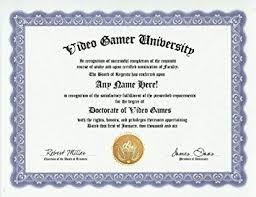 com video game videogame gamer degree custom gag diploma  video game videogame gamer degree custom gag diploma doctorate certificate funny customized joke gift