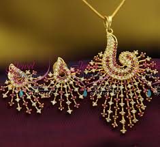 ps2665 ad ruby white stones peacock design fancy jewellery pendant set gold finish