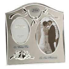 two tone silverplated wedding anniversary gift photo frame 25th ideas for couples in india 0