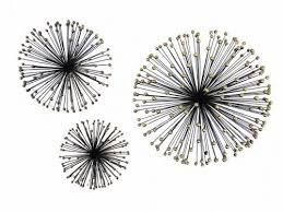 metal wall art 3 spiky flowerheads