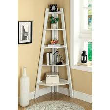 Nice White Painted Wooden Corner Ladder Shelf As Book Shelf As Well As  Neutral Wall Painted Color In Simple Interior Ideas