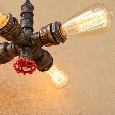 retro industrial loft pendant light metal water pipe ceiling lamp chandelier