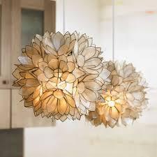 top 57 superlative fl shaped capiz chandelier for modern dining room design shades lotus pendant lighting
