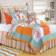 Beach Inspired Bedding C F Enterprises Quilts Clearance Beach Themes Blue Orange And
