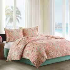Echo Design Coverlet Echo Design Guinevere Full Size Bed Comforter Set Coral Aqua Reversibe Floral Damask 4 Pieces Bedding Sets 100 Cotton Sateen Bedroom