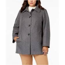 london fog plus size layered collar peacoat grey women s coats jackets 6455870