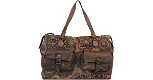 lyst wilsons leather vintage tapestry duffel w leather front pockets in brown