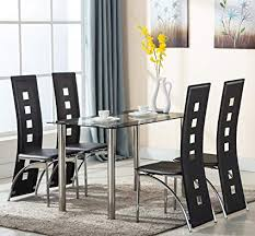 eight24hours 5 piece gl dining table set 4 leather chairs kitchen room breakfast furniture