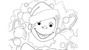 This coloring page shows several kids and their mom giving thanks for the beautiful season of autumn. A Very Monkey Christmas Coloring Page Kids Pbs Kids For Parents