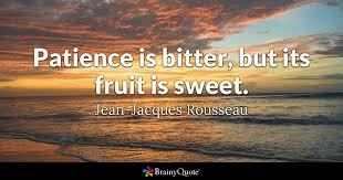 patience is bitter but its fruit is sweet jean jacques  quote patience is bitter but its fruit is sweet jean jacques rousseau
