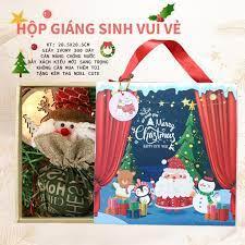 Hộp Noel dùng đựng quà tặng, bánh kẹo - tặng kèm khay chia ngăn nhũ vàng +  1 Tag Noel xinh xắn giá cạnh tranh