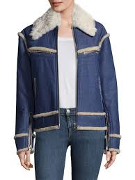 rag bone andrew shearling denim moto jacket indigo women s jackets vests motos ers
