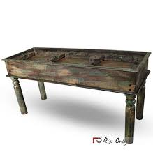 console table made of old doors