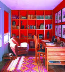 Purple and red room. I love this. This is an incredible room.